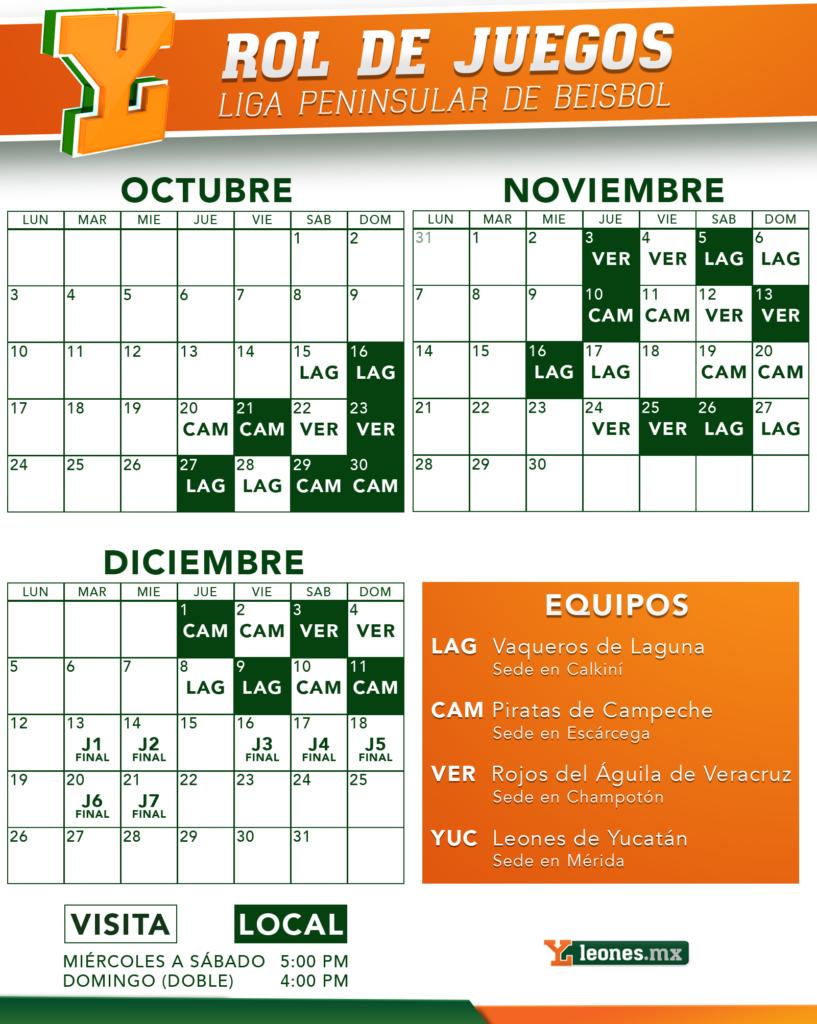 Listo el calendario de la Liga Peninsular de Beisbol – Leones de ...
